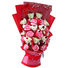Wonderful Bouquet of Teddy N Roses  to Akola