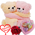 Cute Hugging Couple Teddy with 1 Velvet Rose and 3... to Sirsi
