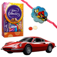 Bburagos Genial Momentum Ferrari Model Car and Kids Rakhi, Cadbury Celebration Mini with Free Roli Tilak and Chawal to Cochin