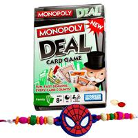 Engrossing Monopoly Deal Card Game and Kids Rakhi, Cadbury Nutties with Free Roli Tilak and Chawal to Bangalore