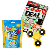 Exclusive Present of Jolly Rancher Lolly pop with Fidget Spinner and Monopoly Deal to Agroli
