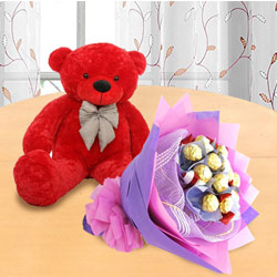 Marvelous Red Teddy with Ferrero Rocher Bouquet to Achalpur