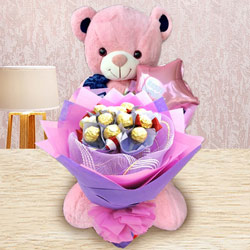 Remarkable Ferrero Rocher Bouquet, Teddy N Mylar Balloon to Barabanki