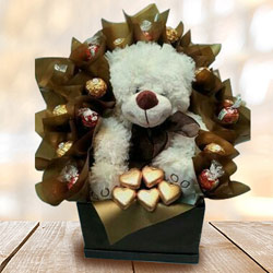 Marvelous Teddy with Handmade Chocolates Arrangement to Aalangulam