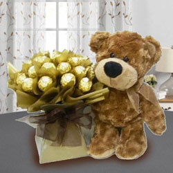Marvelous Brown Teddy with Ferrero Rocher Chocolate to Agroli