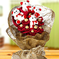 Remarkable Teddy N Ferrero Rocher Chocolate Bouquet to Amroha