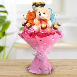 Marvelous Teddy Bouquet with Ferrero Rocher Chocolate to Adilabad