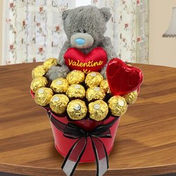 Marvelous Bucket of Ferrero Rocher Chocolate with Teddy to Abohar