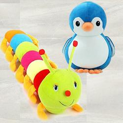 Exclusive Penguin N Caterpillar Twin Soft Toy for Kids to Akaltara