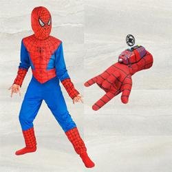 Remarkable Spiderman Costume with Gloves N Disc Launcher to Alipurduar