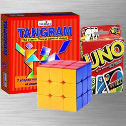 Remarkable Uno Card Game with Tangram Puzzle N Rubiks Cube to Adra