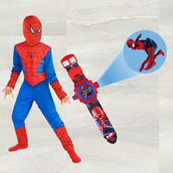 Marvelous Spiderman Projector Watch N Spiderman Costume for Kids to Ahmedgarh