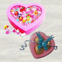 Marvelous Cartoon Finger Rings with 3 Pcs Heart Shaped Chocolates to Adra