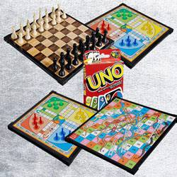 Remarkable 2-in-1 Wooden Board Game with Mattel Uno Card Game to Allasandra