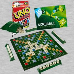 Marvelous Scrabble Board Game N Uno Card Game from Mattel to Allahabad