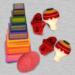 Marvelous Seven Stone Game with 2 Pairs of Spinning Top to Aluva