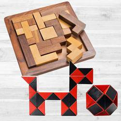 Marvelous Wooden Jigsaw Puzzle with Cubelelo ShengShou Snake Cube to Aluva