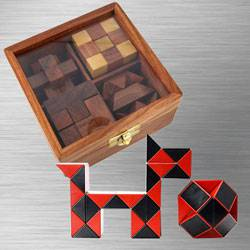 Marvelous 4-in-1 Wooden Puzzle Games Set with Cubelelo ShengShou Cube to Alapuzha