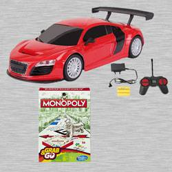 Marvelous Racing Car with Remote Control N Monopoly Grab N Go Game to Adugodi