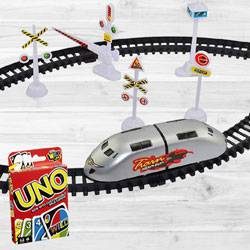 Marvelous Trains N Train Sets N Mattel Uno Card Game to Adra