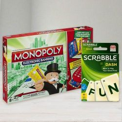 Marvelous Funskool Monopoly E-Banking N Mattel Scrabble Dash Game to Adoni