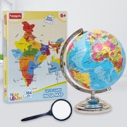 Amazing Funskool Map Puzzle N Rotating World Globe to Adoni