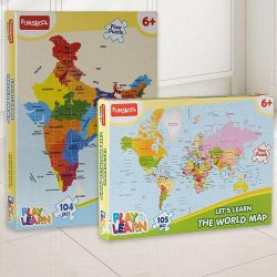 Marvelous Funskool India Map World Map Puzzle Set to Aluva