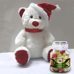 Smart Teddy with Santa Cap n Cavendish  N  Harvey Mixed Fruit Selection to Jamshedpur
