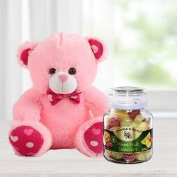 Smart Teddy with 2pcs Ball Point Pen n Cavendish  N  Harvey Mixed Fruit Selection to Agra