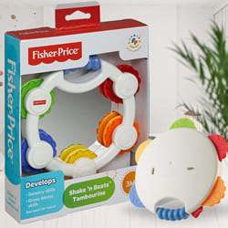 Wonderful Fisher-Price Shake n Beat Tambourine Baby Rattle Toy to Ajmer