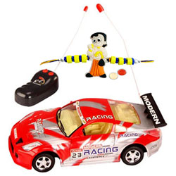 Remote Control Toy Car Gift with Rakhi and Roli Tilak Chawal to Nakoda