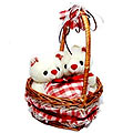 Couple Bear In Heart Shape LoveBasket (12 inches) to Gurgaon