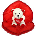 Heart Shaped Pillow having Valentine Teddy Inside to Gurgaon