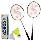 Lets Have Fun with Cosco Aero-737 Shuttle Cock (Set of 6 Shuttles),Silver Fusion Badminton Racket 2 pcs to Ambalamukku