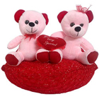 Excellent Two Teddy Bears Sitting on Red Cushion to Puzhal