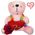 Splendid Lucas Teddy Bear With Heart Wrapped with Romance to New Delhi