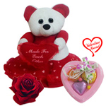 Remarkable Teddy Bear with Soul Satisfying Love with 3 pcs Heart Homemade Chocolate to India