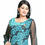 Attractive Black Shimmer Georgette Tunic