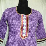 Wonderful Brinjal Colour Embroidered Cotton Kurti With Patiala to Gurgaon