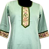 Light Moss Green Cotton Kurti With Matching Patiala