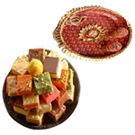 Captivating Combo Of  Pooja Thali N Delicious Assorted Sweet to Diwali_uk.asp