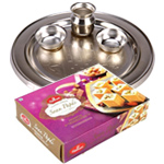 Soan Papdi  & Silver Plated Thali to Diwali_uk.asp
