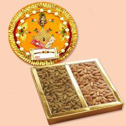 Attractive Pooja Thali with Assorted Dry Fruits to Diwali_uk.asp