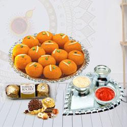 Attractive Combo of Ladoo with Ferrero Rocher N Pooja Thali to Diwali_uk.asp