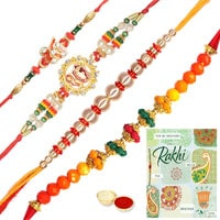 Beautiful Set of Rakhis with Rakhi Card to Rakhi_to_uk.asp