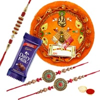 Rakhi Thali with 3 Rakhi to Rakhi_to_uk.asp