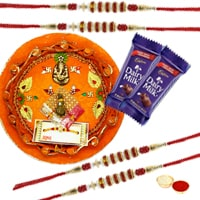 Rakhi Thali with 4 Rakhi to Rakhi_to_uk.asp
