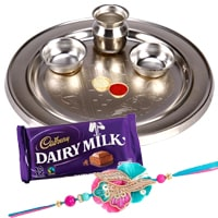 Silver Plated Rakhi Thali with One or More Rakhi Options to Rakhi_to_uk.asp