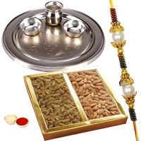 Silver Plated Rakhi Thali with One or More Rakhi Options with Dry Fruits to Rakhi_to_uk.asp
