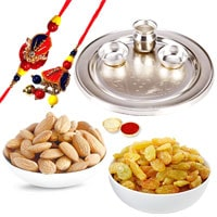 Silver Plated Rakhi Thali with 1 set Bhaiya n Bhabhi Rakhi and 200 Gms. Almonds and Resins to Rakhi_to_uk.asp